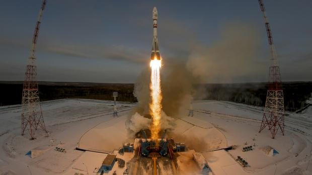 A Russian Soyuz 2.1b rocket carrying the Meteor M satellite lifts off from the launch pad at the Vostochny cosmodrome (Dmitri Lovetsky/AP)