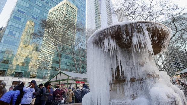 A frozen fountain at Bryant Park in New York (AP/Frank Franklin II)