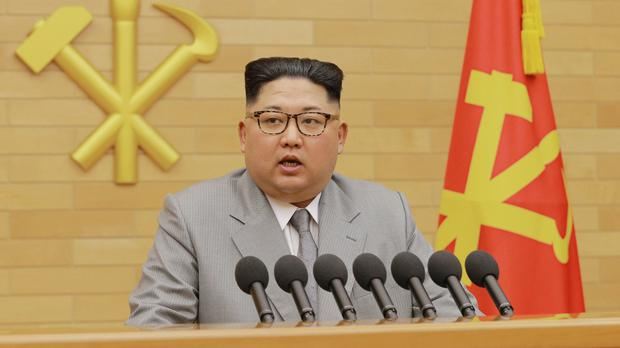 North Korean leader Kim Jong Un delivers his new year's speech (Korean Central News Agency/Korea News Service/AP)