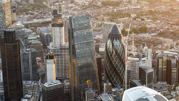 An aerial view of view of The City in London (PA)