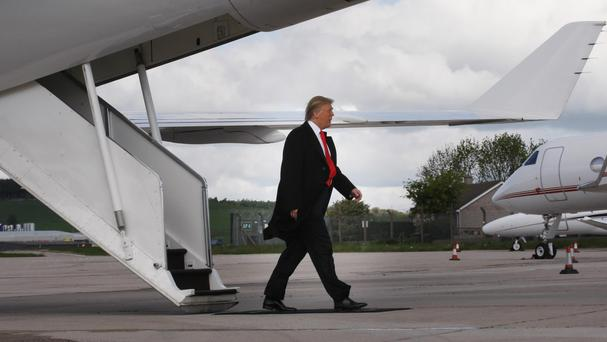Donald Trump arrives at Aberdeen Airport in his private jet to give a press conference and talk about his plans for the
