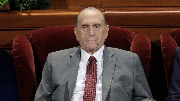 Thomas M Monson at the two-day Mormon church conference in Salt Lake City last April (AP)