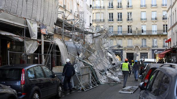 A scaffolding collapsed due to a violent storm in Paris (AP)