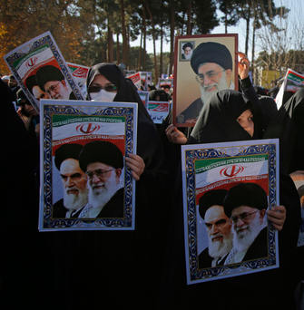 Women in the holy city of Qom show their support for Supreme Leader Ayatollah Ali Khameini. Photo: Mohammad Ali Marizad/AP