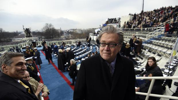 Donald Trump has attacked his former chief strategist Steve Bannon (Saul Loeb, Pool via AP)