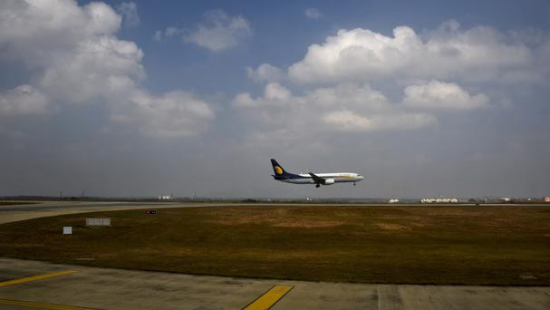 File photo of a Jet Airways aircraft landing in Bangalore, India (AP)