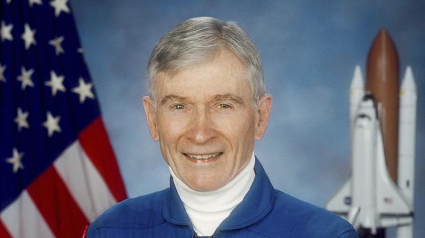 John Young walked on the moon and later commanded the first space shuttle flight (Nasa via AP)