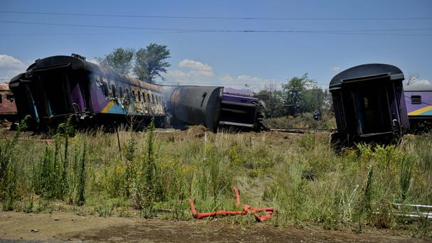 The scene of a train crash near Kroonstad, South Africa, on January 4 in which at least 18 people were killed (AP)