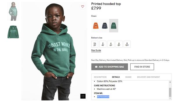 The ad was widely challenged on social media as being racist and inappropriate (H&M/AP)