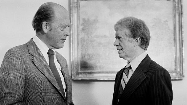 Norwegian Prime Minister Odvar Nordli, who has died aged 90, meets US President Jimmy Carter at the White House in 1979 (AP Photo/Harvey Georges, File)