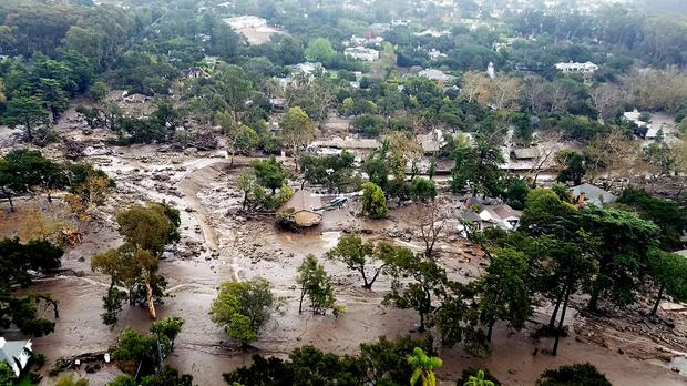 This aerial photo shows mudflow and damage to homes in Montecito (Matt Udkow/Santa Barbara County Fire Department/AP)