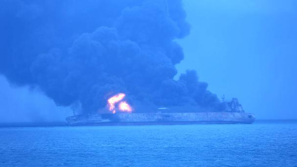 The oil tanker Sanchi is seen ablaze after a collision off China's eastern coast (Korea Coast Guard/AP)