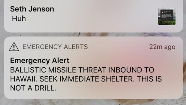 A smartphone screen capture shows a false incoming ballistic missile emergency alert sent from the Hawaii Emergency Management Agency system (Marco Garcia/AP/PA)