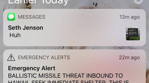 This smartphone screen capture shows a false incoming ballistic missile emergency alert sent from the Hawaii Emergency Management Agency system (AP Photo/Marco Garcia)