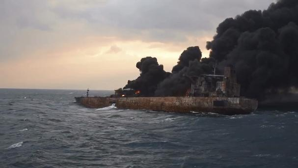 Smoke rises from a fire aboard the oil tanker Sanchi in the East China Sea off the eastern coast of China (China Ministry of Transport via AP)