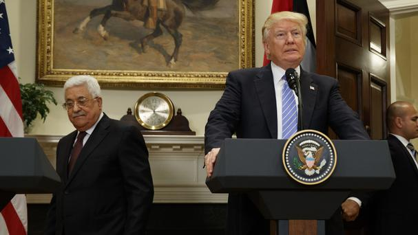 File photo of Donald Trump with Mahmoud Abbas (AP)