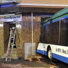 A bus has crashed into a building in Eberbach near Mannheim (AP)