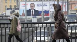 A Russian election poster in St Petersburg reading: