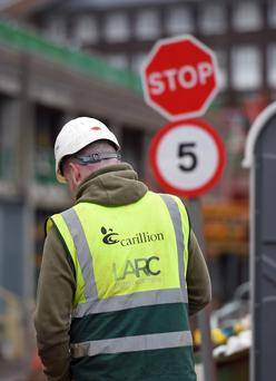 A Carillion worker at Midland Metropolitan Hospital in Smethwick where construction work is being carried out by the firm (Joe Giddens/[PA)