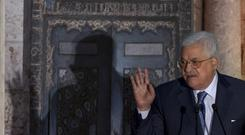 Palestinian president Mahmoud Abbas speaking in Egypt (AP)
