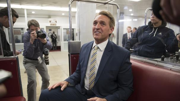 Mr Flake delivered a blistering speech on the Senate floor (AP)Mr Flake delivered a blistering speech on the Senate floor (AP)