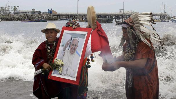 Shamans in a welcoming ceremony for Pope Francis ahead of his visit to Peru (Martin Mejia/AP)