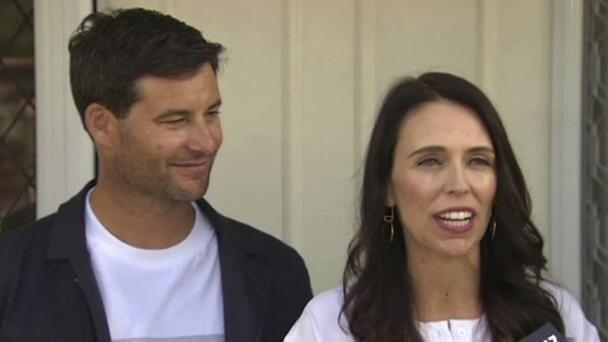 New Zealand's PM Jacinda Ardern, right, with her partner Clarke Gayford, announce the pregnancy