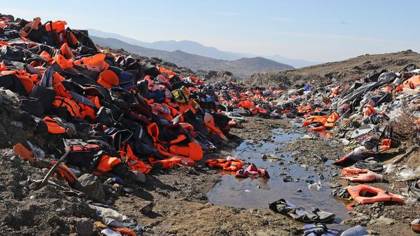 Piles of used life jackets on the Greek island of Lesbos