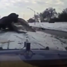 The moment a car slid into a tow truck in Detroit (Screengrab/AP)