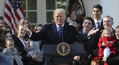 President Donald Trump addresses the March of Life participants (AP Photo/Pablo Martinez Monsivais)