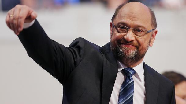 Leader Martin Schulz waves during a party meeting of the Social Democrats (Michael Probst/AP)