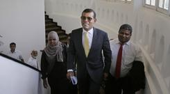 Former Maldives leader Mohamed Nasheed arrives to address the media in Colombo (Eranga Jayawardena/AP)