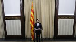 Roger Torrent, speaker of Catalan Parliament attends a press conference at the Catalonia Parliament in Barcelona (Manu Fernandez/AP)