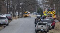 Emergency crews respond after a fatal school shooting at Marshall County High School (Ryan Hermens/The Paducah Sun via AP)