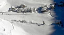 An aerial view of the Langtauferer hotel in the Venosta valley (Italian Army via AP)