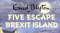 High street sales at WH Smith have been hit after waning demand for spoof humour titles, such as the Five on Brexit Island series.