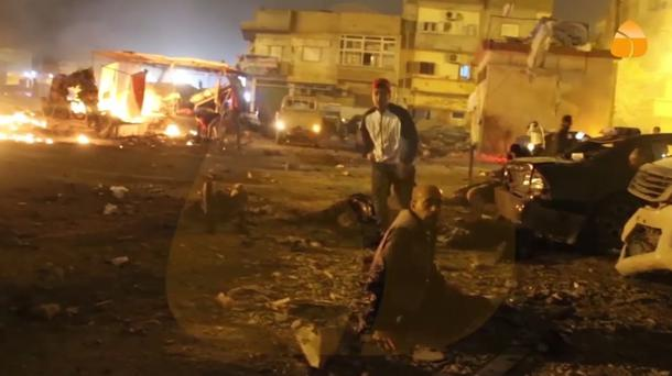 Debris at the site of an explosion in Benghazi (AP)