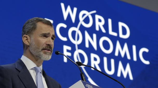 King Felipe VI of Spain delivers a speech at Davos (AP)