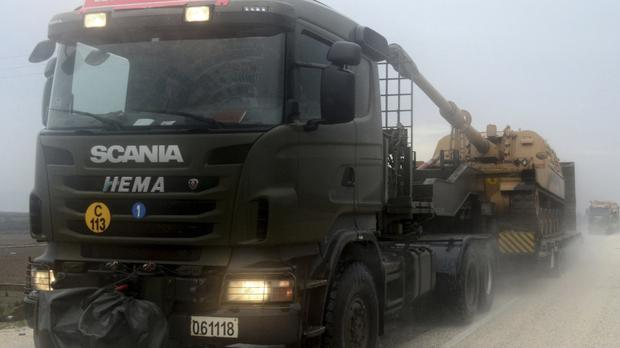 Military equipment heading towards Turkey's border with Syria (AP)