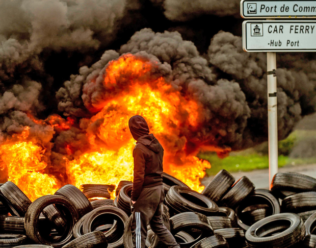 Burning tyres block access to the port of Boulogne-sur-Mer. Photo: Getty Images