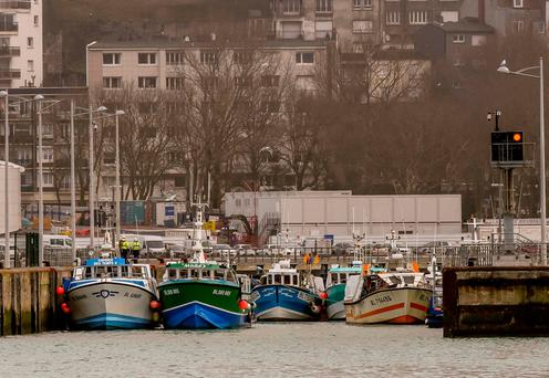 Fishing boats block access to the harbour. Photo: Getty Images