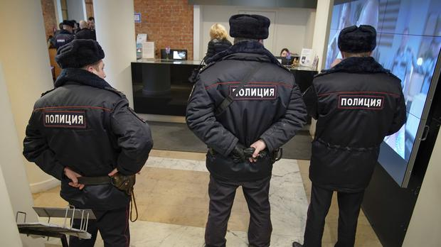 Russian police visit the Pioner cinema (AP Photo/Alexander Zemlianichenko)