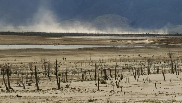 Water is in short supply at the Threewaterskloof dam near Cape Town (AP)