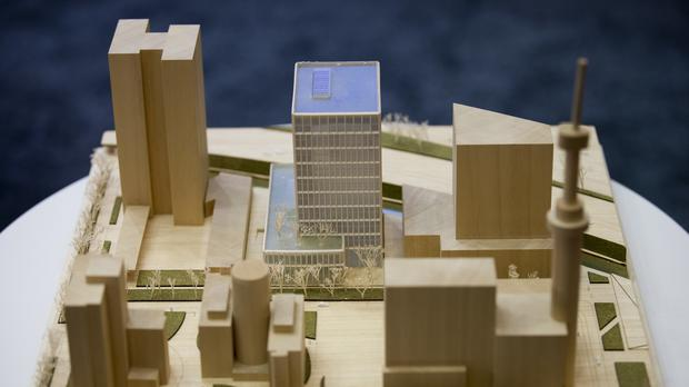A model of the new headquarters of the European Medicines Agency, which is due to be completed in 2019 (AP)