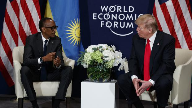 U.S. President Donald Trump meets with Rwandan President Paul Kagame. (Evan Vucci/AP)