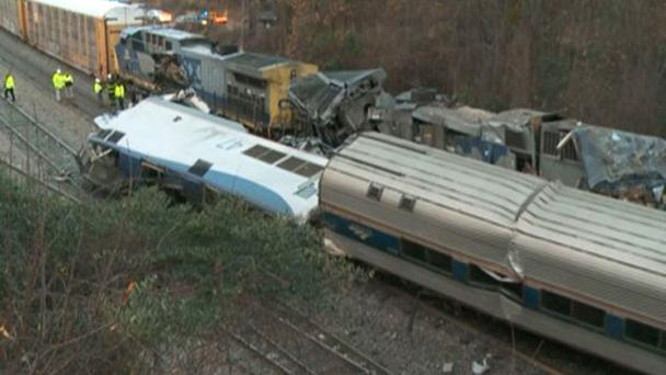 Train cars are smashed and derailed near Cayce (WLTX TV/AP)