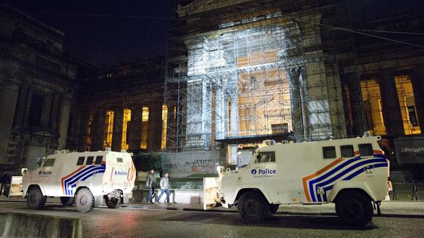 Police outside the Palace of Justice in Brussels for the trial of Paris terror suspect Salah Abdeslam over a shooting incident in Vorst, Belgium (Virginia Mayo/AP)