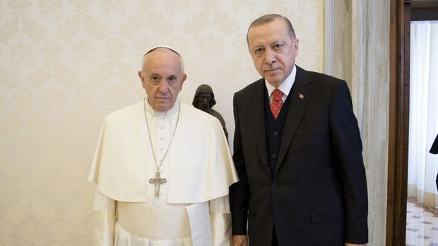 The Pope and the Turkish president meet in the Vatican (AP)
