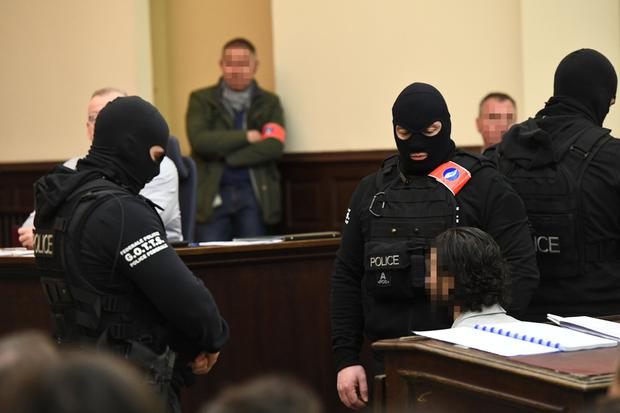 Saleh Abdeslam, one of the suspects in the 2015 Isil attacks in Paris, appears in court during his trial in Brussels yesterday. Photo: Reuters