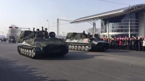 Military vehicles in Pyongyang (Paektu Cultural Exchange/AP)